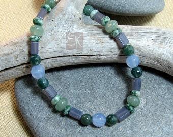 Calm Chalcedony Womens Bracelet,  Blue Green Gemstone Beaded Bracelet, Bohemian Bracelet, Agate Bracelet, Hippie Bracelet, Gift for Her