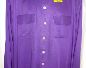 "Classic 1950's Reproduction Purple Rockabilly Gabardine Shirt M/L 46"""