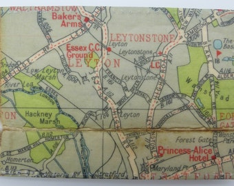 Oyster card holder, bus pass holder, travel card holder,wallet.London map print wallet .Leytonstone map.Card wallet,Oyster card wallet.