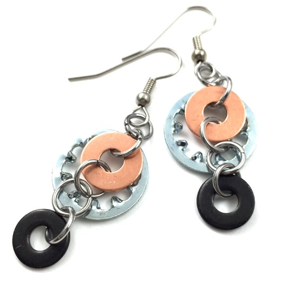 Steampunk Dangle Earrings Mixed Metal Hardware Jewelry Industrial Lock Washer Copper and Black Washer Hardware