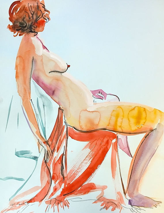 Nude painting- Original watercolor painting of Nude #1308 by Gretchen Kelly