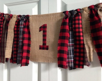 Woodland Party High Chair Banner Lumberjack 1st Birthday rustic farmhouse Happy Birthday  rag tie banner party banner photo prop