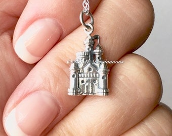 NEW - The Castle Necklace - Solid 925 Sterling Silver Charm - Free Domestic Shipping