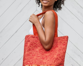 Red Geometric Bottom Tote Bag Poppy Red Nectarine Blossoms Shopping Bag