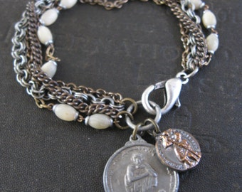 Saint Chris and the Dalai Lama Went Travelling -  Bracelet with Upcycled Rosary Beads - Saint Anthony and Saint Ann