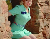 Choose your belt and buttons Flirty late 1930s mint green rayon faille playsuit mint XS to XL Limited Edition vintage feedsack