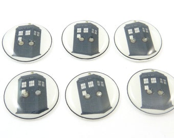 """6  Blue Phone Booth or Police Box Buttons. 3/4"""" or 20 mm Handmade Buttons.  Sewing, knitting or needle craft buttons."""