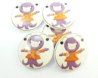 "5 Cute Purple Monster Buttons.  5 Handmade Buttons.  3/4"" or 20 mm  Sewing Buttons."