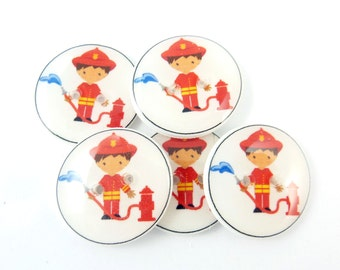 """5  Fireman or Fire Fighter Buttons. 3/4"""" or 20 mm Sewing Buttons."""