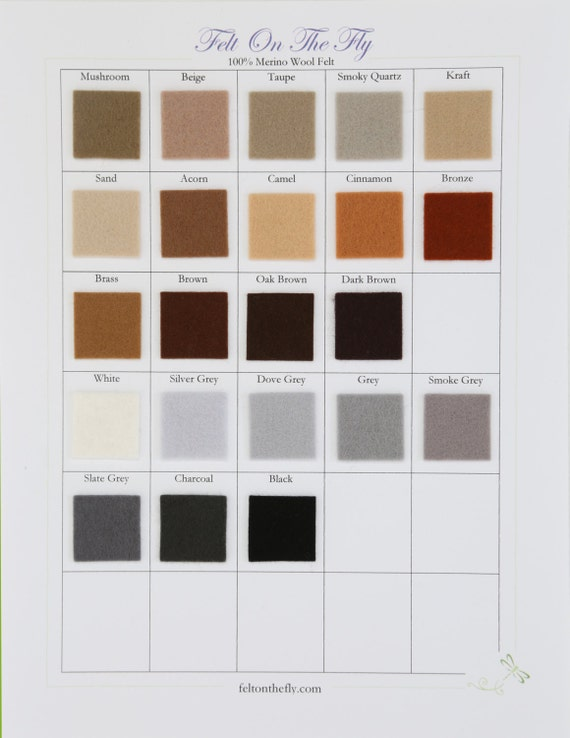 Wool Felt -  CHOOSE SEVEN -  8 x 12  (20 x 30cm)   White, Black, Grey,  Brown  100% Wool Felt