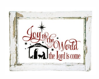 Rustic Christmas Decorations Nativity Set Nativity Scene Joy to the World Decal Christmas Nativity Decal Nativity Sign Religious Christmas