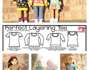 Perfect Layering Tee for DOLLY Knit PDF Sewing Pattern Sized for 15 and 18 inch dolls