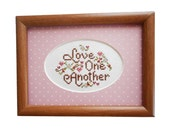 """Vintage Love One Another Framed Picture Cross Stitch Love Hearts Pink Flowers Wall Decor Shabby Cottage 5"""" Hand Embroidered Finished"""