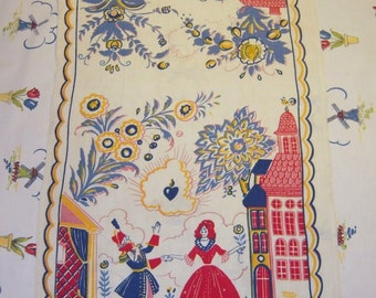 Vintage Tony Sarg Towel Turn of the Century Couples in Love RARE