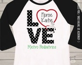 Nurse shirt - love nursing personalized ADULT raglan shirt for nurses and medical professionals