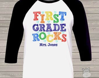 Back to school TEACHER shirt - first grade or any grade rocks colorful personalized raglan shirt for teachers MSCL-020