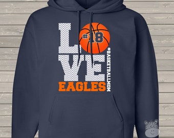 Basketball mom hoodie sweatshirt LOVE - great gift for birthday or Mother's Day