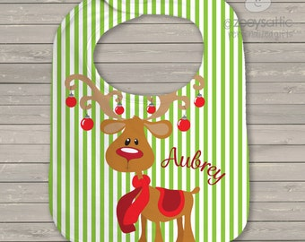 Christmas Reindeer Personalized Bib - christmas baby reindeer with name - great personalized shower gift CRB1