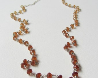 Hessonite Garnet Ombre Shaded Necklace with Sterling Silver Opera Length Necklace - Yellow and Brown - Extra Long Wire Wrapped One of a Kind