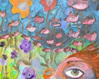 OOAK  Flower Field Painting on Aquabord