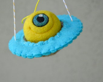 Needlefelted Yellow Wool Alien in a Spaceship Ready to Ship