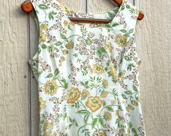 Vintage 1960s 60s Mellow Hippie Garden Sundress 1960's 60's Fall Colors Sheath XL