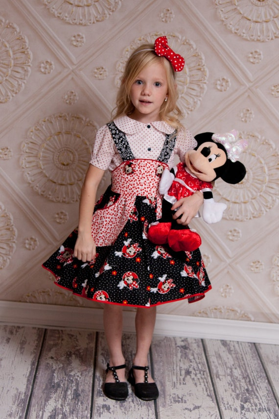 Minnie Mouse Birthday Outfit - Little Girls Outfit - Girls Skater Skirt - Disney Birthday - Birthday Dress - Photo Prop - Sizes 2T to 10 yrs