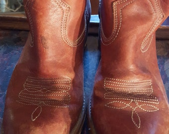 Vintage Men's Cowboy Boots Red Brown Leather
