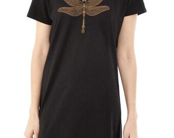 SALE - Dragonfly T-shirt Dress, Steampunk, Jeweled Dragonfly, Metallic Gold, Black Tunic