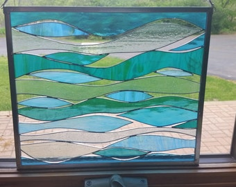 Sea and Surf - Stained Glass Panel