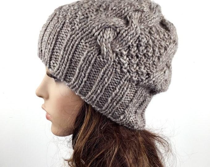 Hand knit hat Mocha Wool woman Hat slouchy hat rib hat