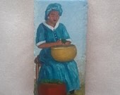 African American Art, Painting On Brick, Painted Doorstop, Painted Paver, Collectible Art, Woman Preparing Meal, Ethnic Art, Acrylic Art