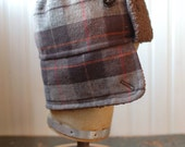 Furry Russian XS: bomber hat in brown plaid, ear flap hat, kids winter hat, warm hat for boys or girls, hat with earflaps, repurposed hat