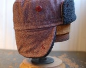 Furry Russian S: tweed ushanka in pink wool, warm winter hat with ear flaps, colbacco for women or girls, one of a kind cozy earflap hat