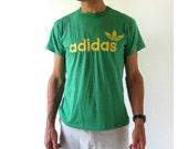 Vintage Adidas T Shirt / 80s TShirt / Green Adidas Tee / Made in USA / Medium M