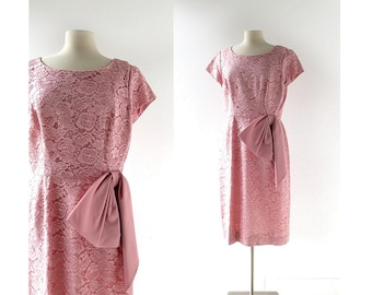 Vintage 50s Dress | Pink Lace Dress | 1950s Dress | Large L