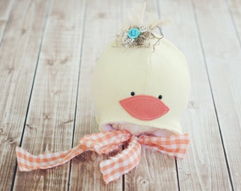 3 to 6 month duck hat // baby duck hat // photography prop // spring photo prop //duckie // summer hat // baby photo prop // boy girl // RTS