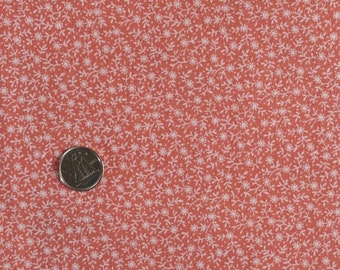 OR001 ~ Orange fabric White flowers Floral print Muted orange Quilting Cotton