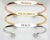 Engraved Bracelet - Engraved Bracelet Personalized Bridesmaid Gift Bridal Gift Bracelet Engraved Date Bracelet Engraved Name Bracelet