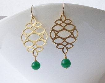 Emerald Green Drop Earrings Eco-Friendly Earrings by Perini Designs Recycled Jewelry
