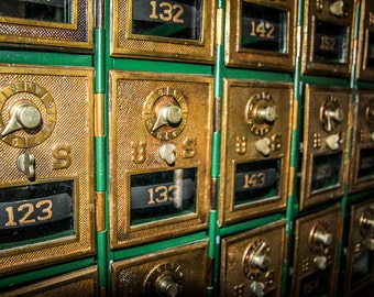 Vintage Golden Post Office Boxes Fine Art Print - Antique, Nostalgic, Photography, Gift, Post Office, Gold, Boxes, Mail, US Postal, 1800's