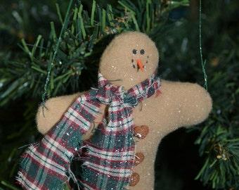Handmade Christmas Ornament, Snowman with GREEN PLAID Scarf, Fleece Snowman with 3 buttons