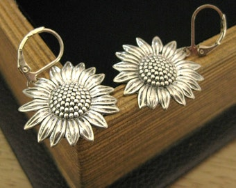 Silver Sunflower Earrings shabby chic earrings folk wedding sunny earrings sunflower jewelry summer earrings gift for her sunflower dangles