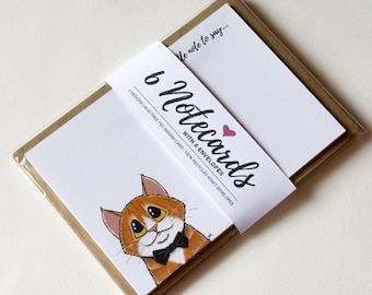 Tabby Cats in Bow Ties Handmade Note Cards / Notelets Set (A6) - Pack of 6 - Just a little note to say - Cat Lover Gifts