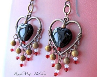 Victorian Valentine Earrings, Romantic Jewelry, Black Hearts, Red Swarovski Crystals, Chandelier Dangles, Antique Copper Accents