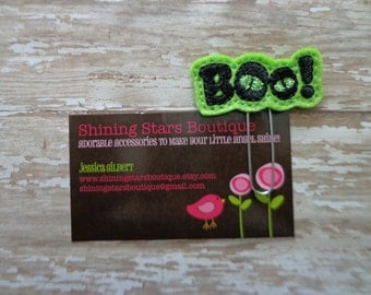 "Felt Paperclips - Lime Green And Black ""BOO"" With Spooky Eyes Halloween Felt Paper Clip Or Bookmark - Holiday Accessory"