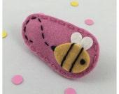 Bumblebee Felt Hair Clip, Pink Hair Clip, Bee Hair Clip, Girls Hair Clip,