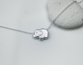 Tiny Sliding Elephant Sterling Silver Necklace