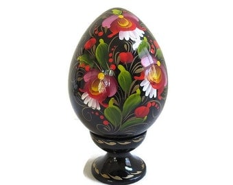 Hand Painted Ukraine Collector Egg with Stand Vintage Signed