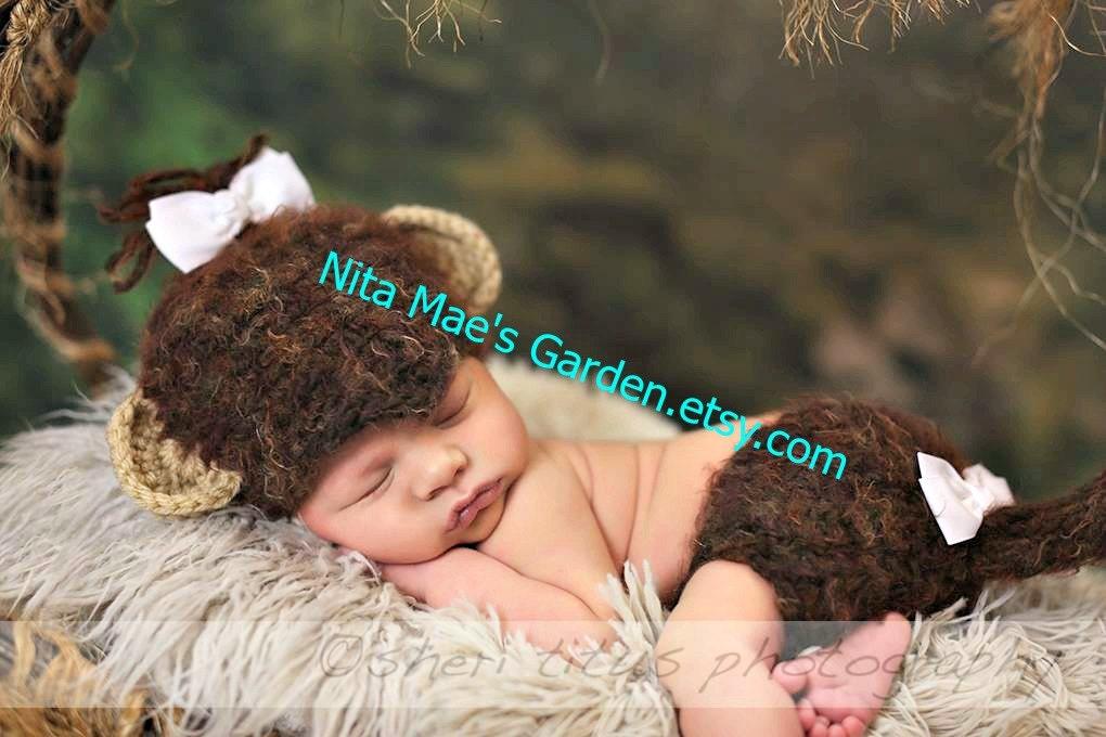 Baby Monkey Hut Neugeborenen 3m 6m jungen Mädchen häkeln